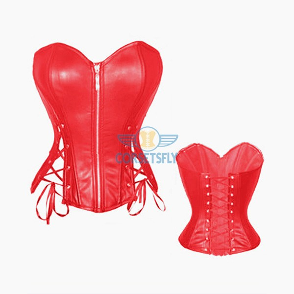 New Design Sexy Hollow Out Zipper Front Faux Leather Corset CF7206 Red_01