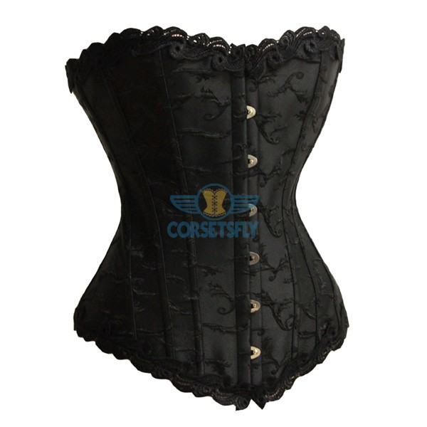 Noble Floral Trim Embroidery Wedding Waist Cincher Overbust 6 busk Corset CF5167 Black