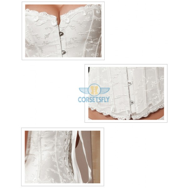 Noble Floral Trim Embroidery Wedding Waist Cincher Overbust 6 busk Corset CF5167 White_01