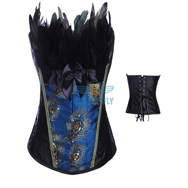 Noble Peacock Splendid Feather Pattern Strapless Burlesque Overbust Corset CF7089 Blue_02