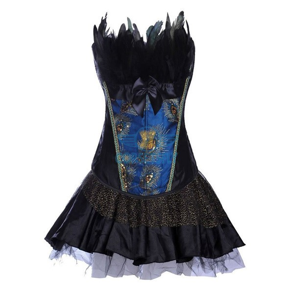 Peacock Splendid Feather Burlesque Corset With Tulle Crinoline Dress CF7855_01