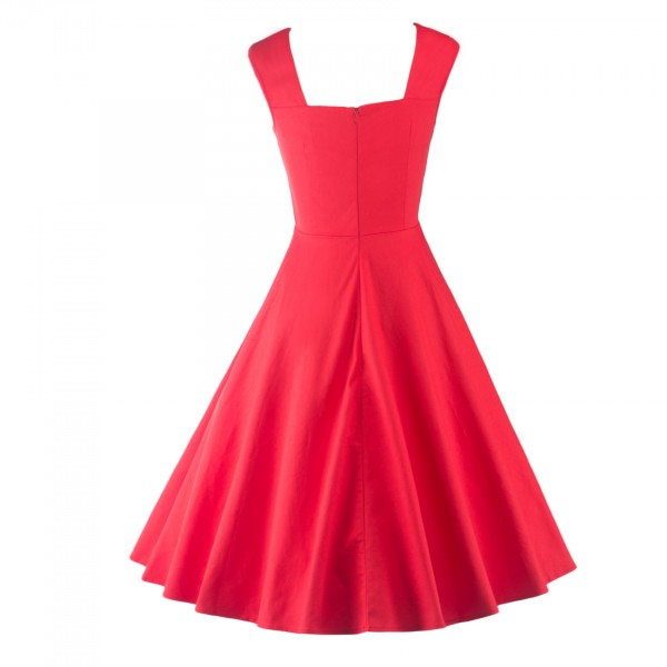 Pinup Classy Audrey Hepburn Vintage Sleeveless Rockabilly Swing Dress CF1235 Red_03