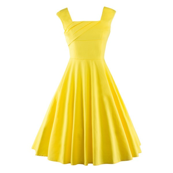 79bf5004213a Pinup Classy Audrey Hepburn Vintage Sleeveless Rockabilly Swing Dress  CF1235 Yellow_01 ...