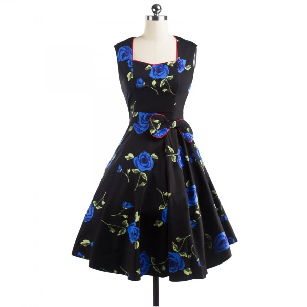Pinup Floral Print Sweetheart Neckline Rockabilly Bowknot A-line Swing Dress CF1245 Blue_09