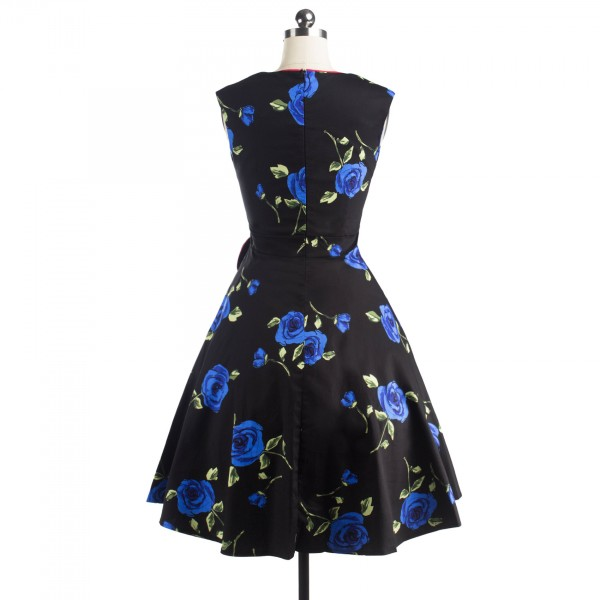 Pinup Floral Print Sweetheart Neckline Rockabilly Bowknot A-line Swing Dress CF1245 Blue_07