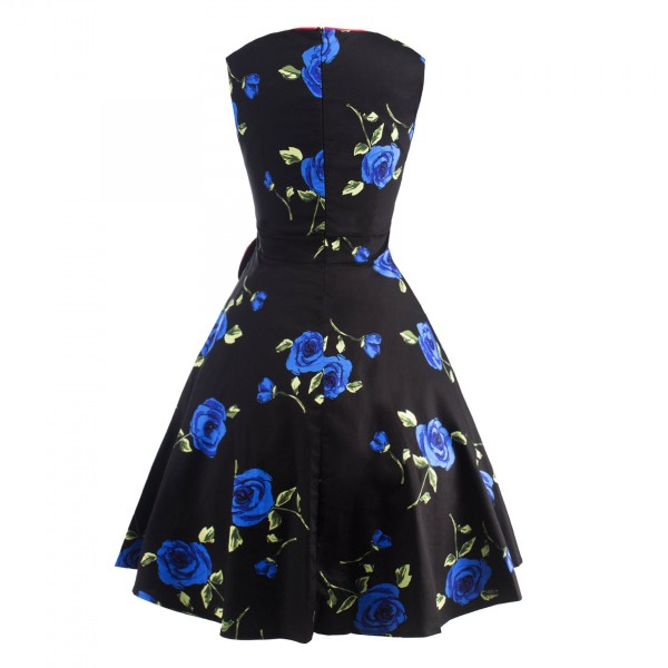 Pinup Floral Print Sweetheart Neckline Rockabilly Bowknot A-line Swing Dress CF1245 Blue_02