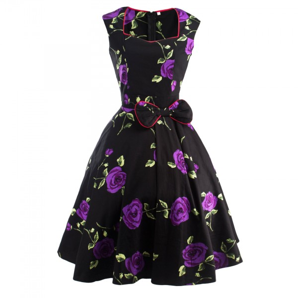Pinup Floral Print Sweetheart Neckline Rockabilly Bowknot A-line Swing Dress CF1245 Purple_01