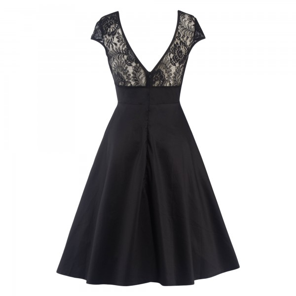 Pinup Lace Sweetheart Neckline Vintage Cap Sleeve Rockabilly Swing Dress CF1289 Black_02