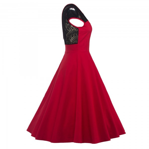 Pinup Lace Sweetheart Neckline Vintage Cap Sleeve Rockabilly Swing Dress CF1289 Red_02