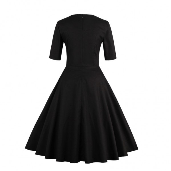 Pinup Pleated Square Neckline Vintage Half Sleeve Rockabilly Swing Dress CF1433 Black_02