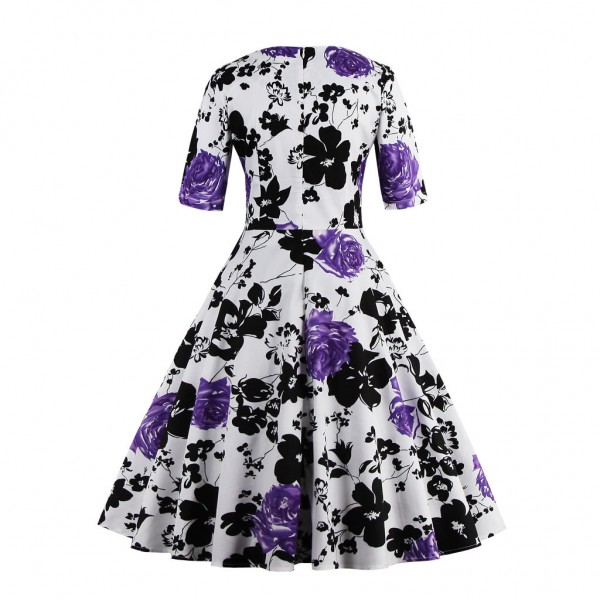 Pinup Pleated Square Neckline Vintage Half Sleeve Rockabilly Swing Dress CF1433 Purple_02