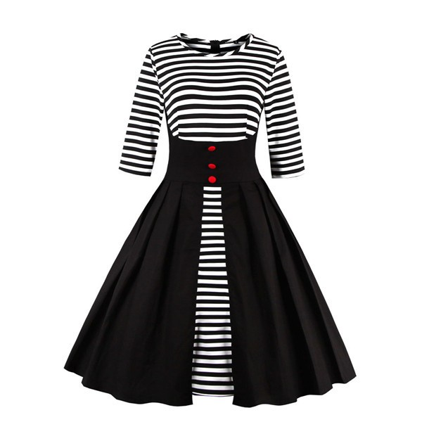 Pinup Striped Round Neckline Vintage Button Cocktail Rockabilly Swing Dress CF1437Black_01