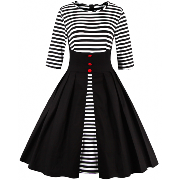 Pinup Striped Round Neckline Vintage Button Cocktail Rockabilly Swing Dress CF1437Black_03
