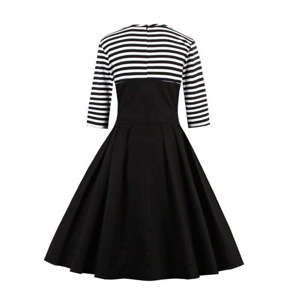 Pinup Striped Round Neckline Vintage Button Cocktail Rockabilly Swing Dress CF1437Black_02