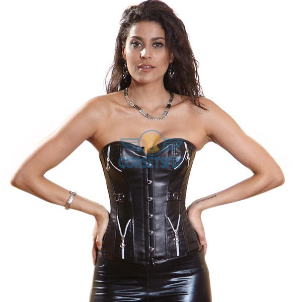 Plastic Boned Lace Up Black Faux Leather Overbust Authentic Corset CF5317_01