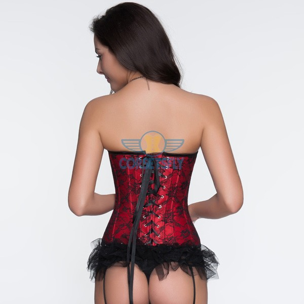 Pleated Trim With Floral Black Lace Overlay Burlesque Evening Corset CF5051 Red_02