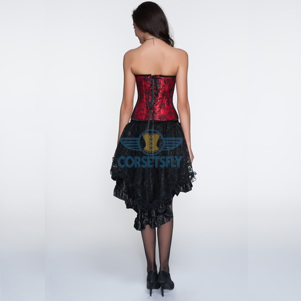 Pleated Trim With Floral Burlesque Corset and Voluminous Layered Skirt CF6832 Red_01