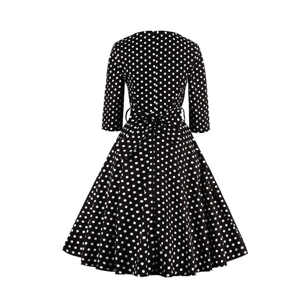 Polka Dot 3/4 Sleeve Sweetheart Neck Vintage Rockabilly Swing Dress CF1400_02
