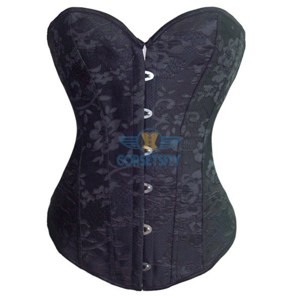 Premium Classic Embroidery Sweetheart Steel Boned Black Brocade Overbust Corset CF5010 Black