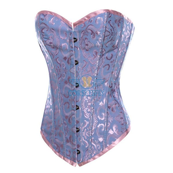Premium Classic Fashion Tapestry Back Design Lace Up Overbust Corset CF7040 Blue