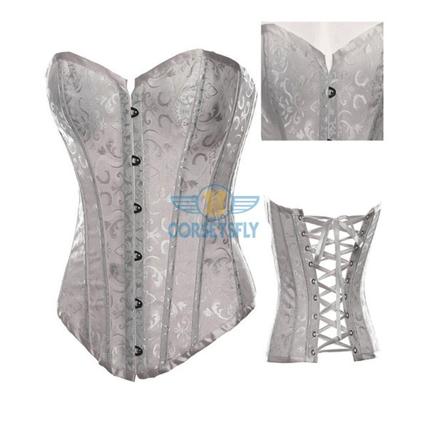 Premium Classic Fashion Tapestry Back Design Lace Up Overbust Corset CF7040 White_01