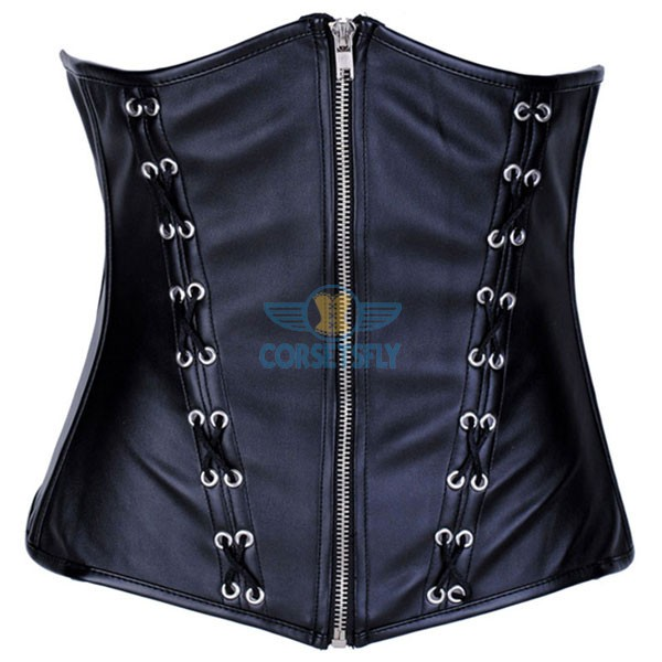 PU Leather Zipper Front Closures Black Waist Training Underbust Corset CF7247