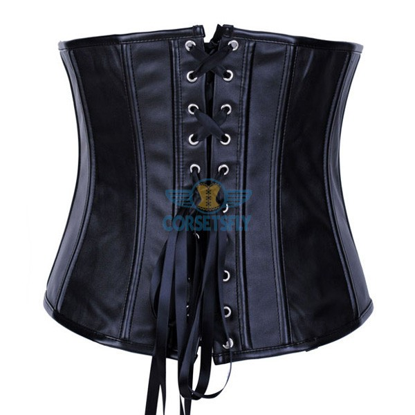 PU Leather Zipper Front Closures Black Waist Training Underbust Corset CF7247_01