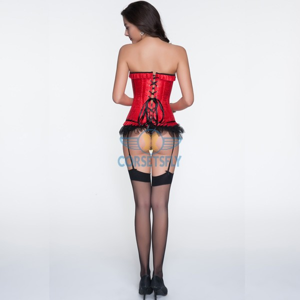 Red Sweetheart Ruffle Trim Corset with Removable Garters Belts Panty CF6828_01