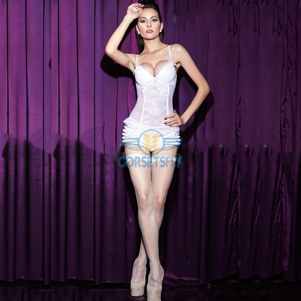 Removable Garters White Lace Wedding Hook Eye Closure Overbust Corset CF6811
