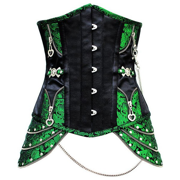 Renaissance Faux Leather Steel Boned UnderBust Steampunk Costumes Corset CF8032 Green