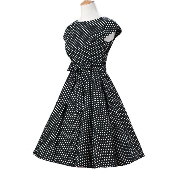 Retro 1950s Audrey Polka Dots Swing Cocktail Rockabilly Pinup Dress CF1003 Black_01