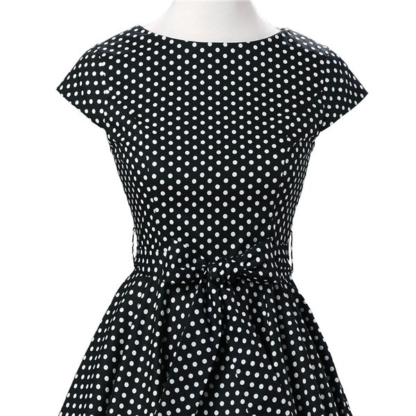 Retro 1950s Audrey Polka Dots Swing Cocktail Rockabilly Pinup Dress CF1003 Black_03
