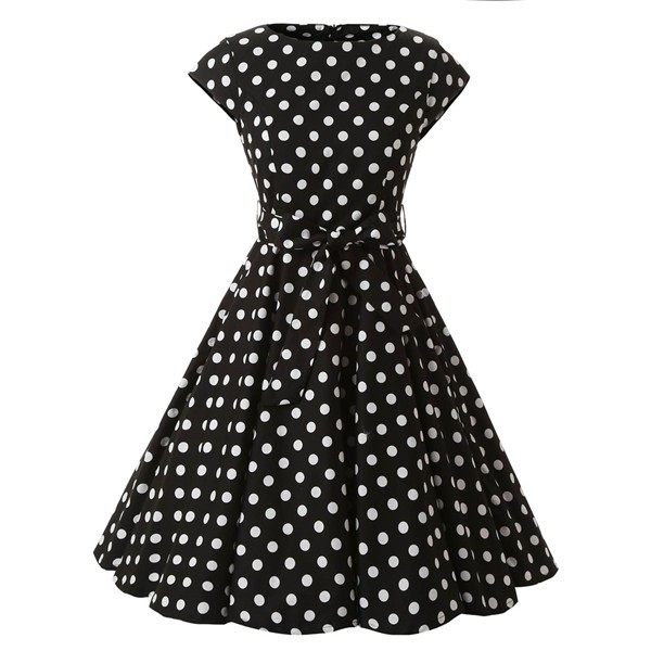 Retro 1950s Audrey Polka Dots Swing Cocktail Rockabilly Pinup Dress CF1003 Black White_01