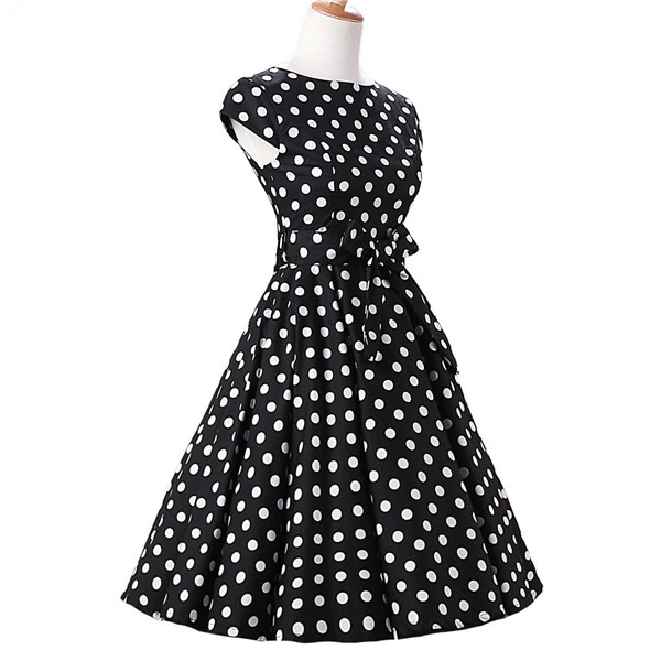 Retro 1950s Audrey Polka Dots Swing Cocktail Rockabilly Pinup Dress CF1003 Black White_02