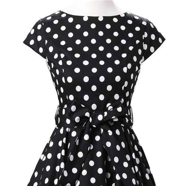 Retro 1950s Audrey Polka Dots Swing Cocktail Rockabilly Pinup Dress CF1003 Black White_06