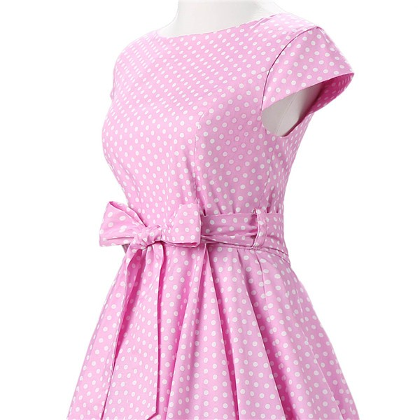 Retro 1950s Audrey Polka Dots Swing Cocktail Rockabilly Pinup Dress CF1003 Pink_04