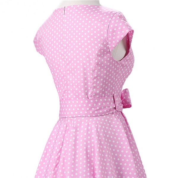Retro 1950s Audrey Polka Dots Swing Cocktail Rockabilly Pinup Dress CF1003 Pink_05