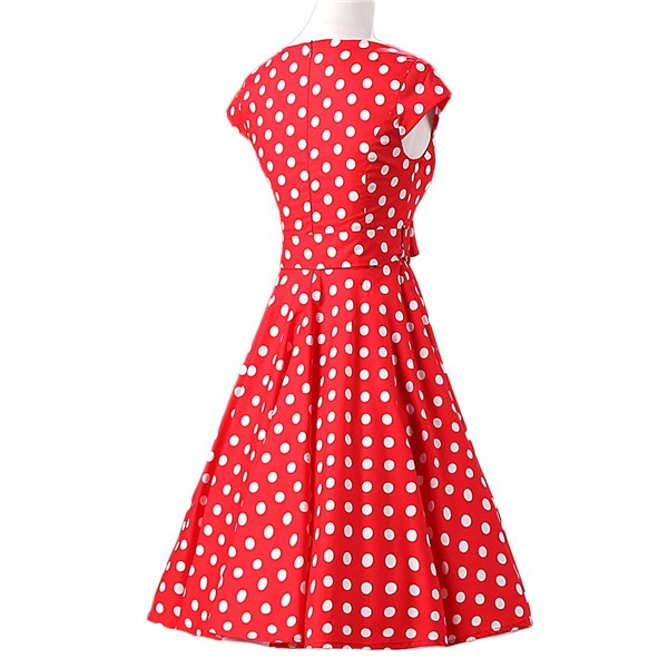 Retro 1950s Audrey Polka Dots Swing Cocktail Rockabilly Pinup Dress CF1003 Red_02