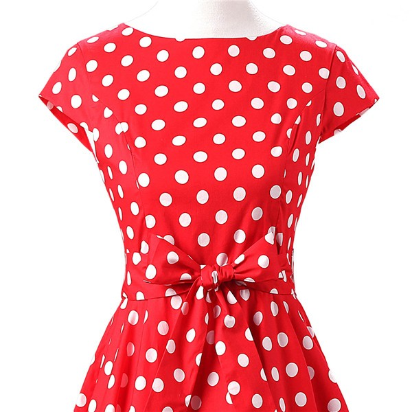 Retro 1950s Audrey Polka Dots Swing Cocktail Rockabilly Pinup Dress CF1003 Red_03