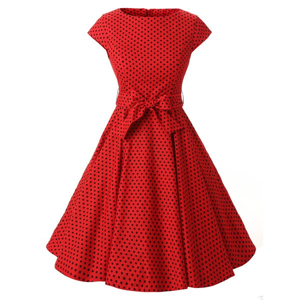 Retro 1950s Audrey Polka Dots Swing Cocktail Rockabilly Pinup Dress CF1003 Red Black