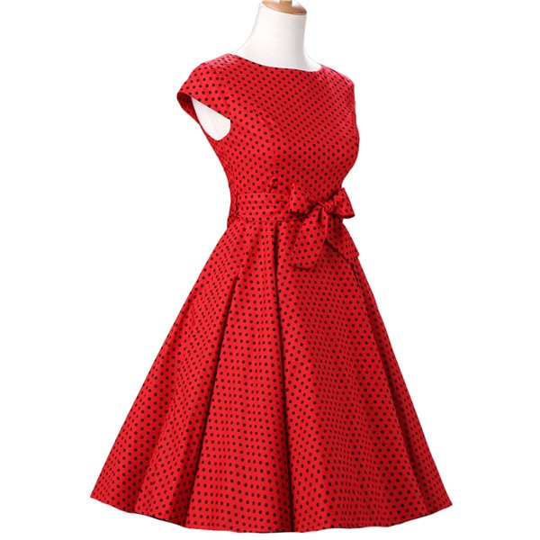 Retro 1950s Audrey Polka Dots Swing Cocktail Rockabilly Pinup Dress CF1003 Red Black_02