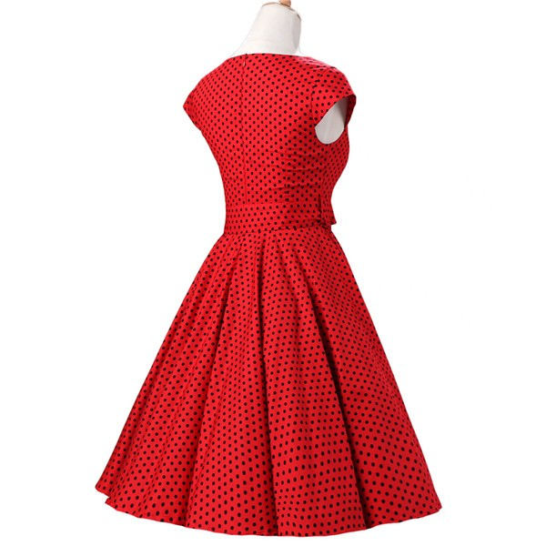 Retro 1950s Audrey Polka Dots Swing Cocktail Rockabilly Pinup Dress CF1003 Red Black_03