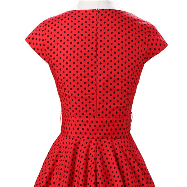 Retro 1950s Audrey Polka Dots Swing Cocktail Rockabilly Pinup Dress CF1003 Red Black_05