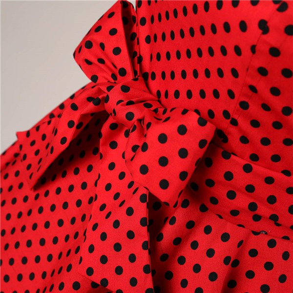 Retro 1950s Audrey Polka Dots Swing Cocktail Rockabilly Pinup Dress CF1003 Red Black_06