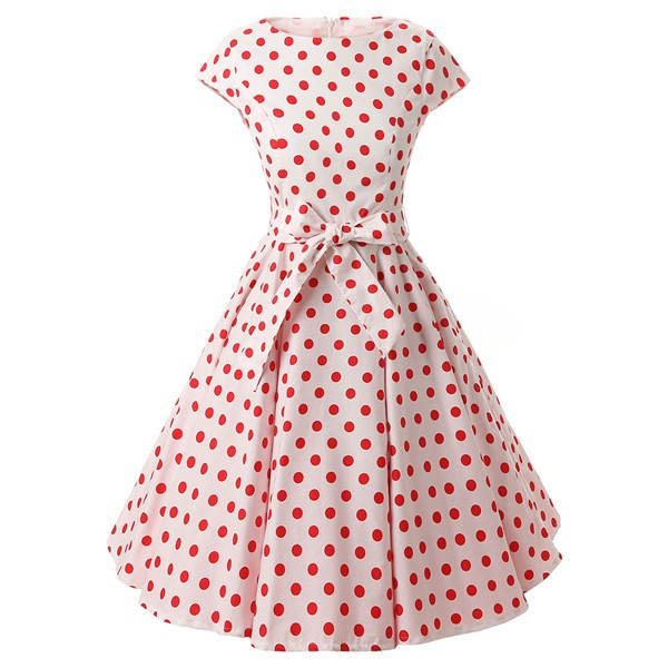 Retro 1950s Audrey Polka Dots Swing Cocktail Rockabilly Pinup Dress CF1003 Red White