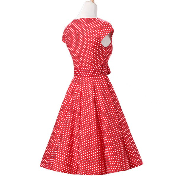 Retro 1950s Audrey Polka Dots Swing Cocktail Rockabilly Pinup Dress CF1003 Red White Dots_03