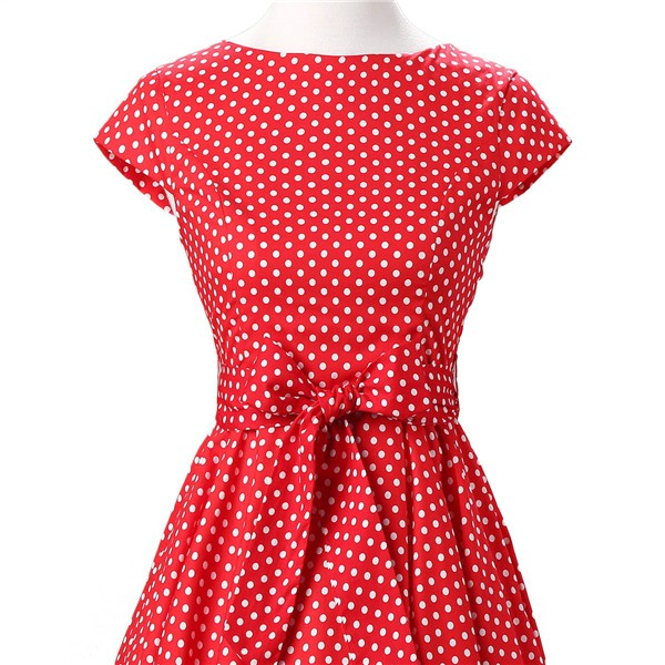 Retro 1950s Audrey Polka Dots Swing Cocktail Rockabilly Pinup Dress CF1003 Red White Dots_04