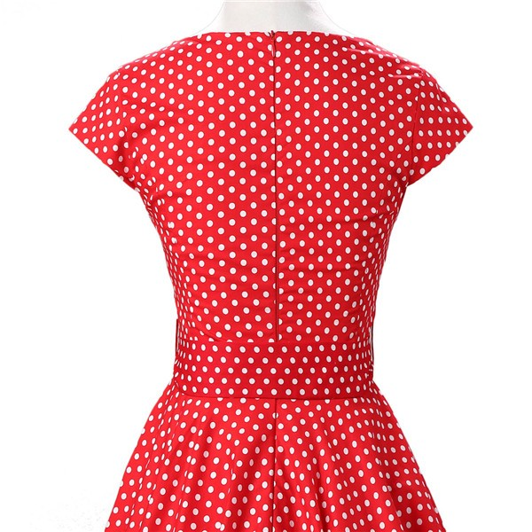 Retro 1950s Audrey Polka Dots Swing Cocktail Rockabilly Pinup Dress CF1003 Red White Dots_05