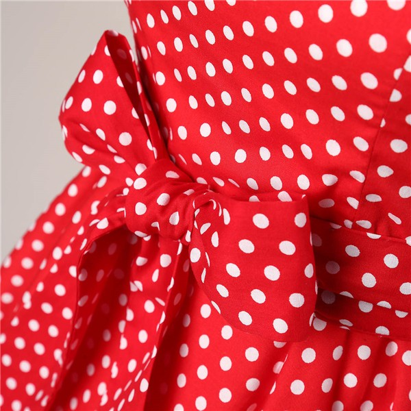 Retro 1950s Audrey Polka Dots Swing Cocktail Rockabilly Pinup Dress CF1003 Red White Dots_06