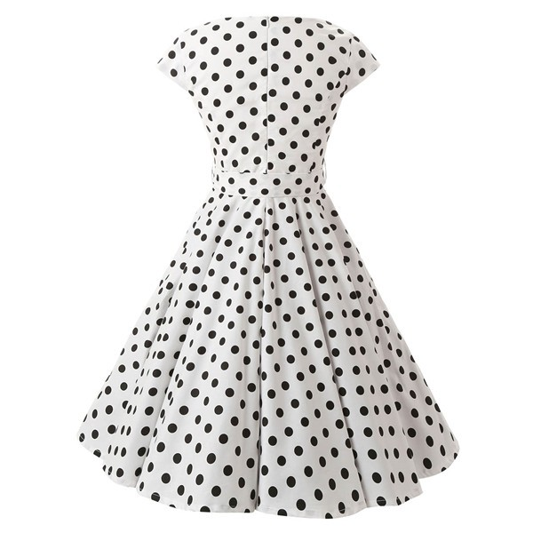 Retro 1950s Audrey Polka Dots Swing Cocktail Rockabilly Pinup Dress CF1003 White_01